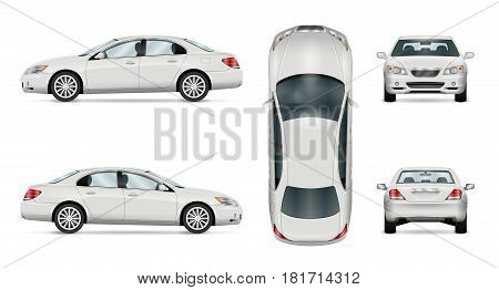 Car vector template on white background. Business sedan isolated. All layers and groups well organized for easy editing and recolor. View from side front back top.