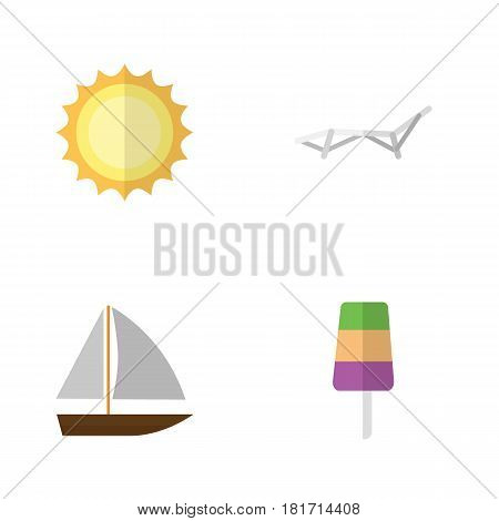 Flat Season Set Of Sunshine, Yacht, Deck Chair And Other Vector Objects. Also Includes Sun, Sunshine, Vessel Elements.