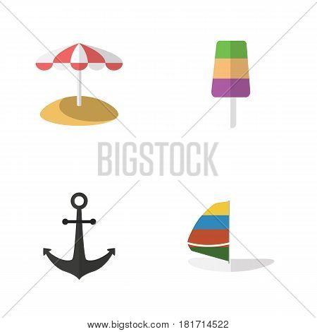 Flat Beach Set Of Ship Hook, Parasol, Sundae And Other Vector Objects. Also Includes Ice, Cream, Sailboard Elements.
