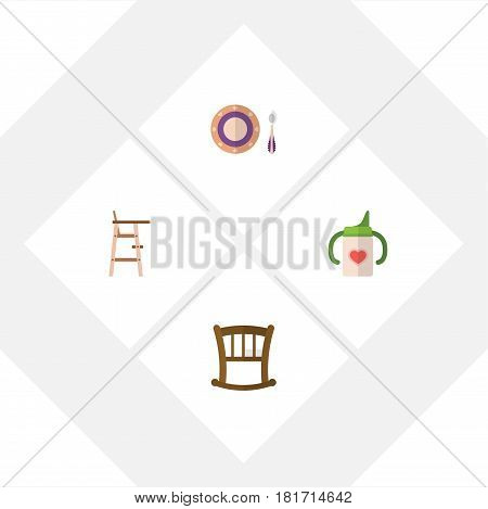 Flat Infant Set Of Baby Plate, Nursing Bottle, Infant Cot And Other Vector Objects. Also Includes Cot, Bottle, Stool Elements.