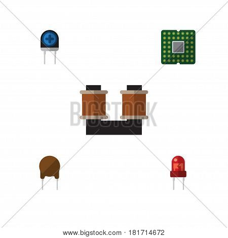 Flat Electronics Set Of Triode, Unit, Transducer And Other Vector Objects. Also Includes Triode, Central, Transistor Elements.