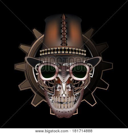 Steampunk skull wearing top hat on a black background