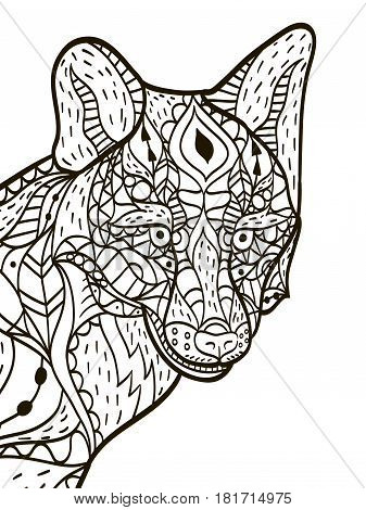 Fox head animal coloring book for adults vector illustration. Anti-stress coloring for adult. Zentangle style. Black and white lines. Lace pattern
