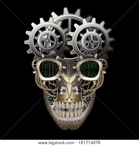 Steam punk skull on a black background