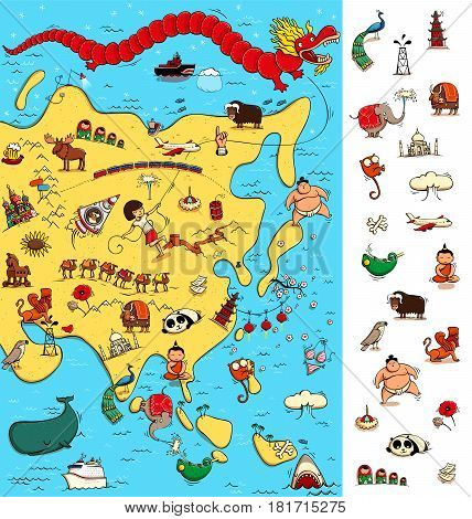 Map of Asia: Big Visual Game. Locate isolated items (right margin) on a map. Illustration is in eps10 vector mode.