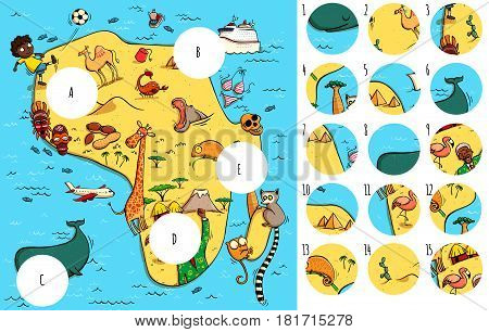 Geography Visual Game: Africa. Task: Find missing pieces. Illustration is in eps10 vector mode solution in hidden layer.