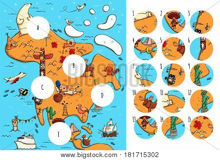 Geography Visual Game: North America. Task: Find missing pieces. Illustration is in eps10 vector mode solution in hidden layer.