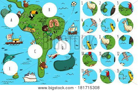 Geography Visual Game: South America. Task: Find missing pieces. Illustration is in eps10 vector mode solution in hidden layer.