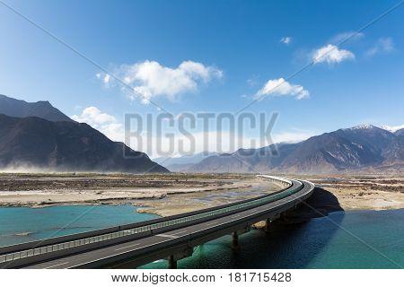 highway across the brahmaputra valley in tibet China