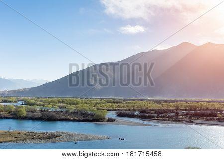 beautiful the yarlung zangbo river landscape in tibet China