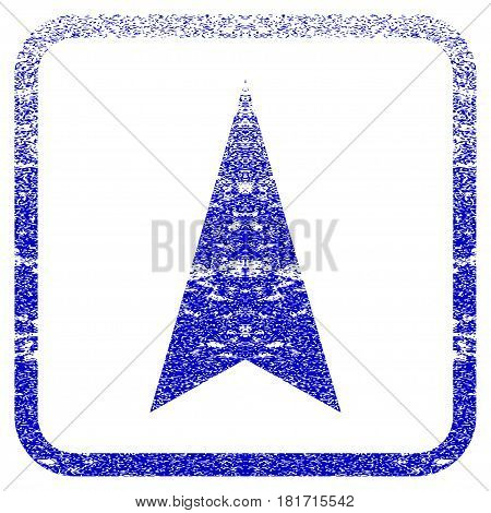 Arrowhead Up textured icon for overlay watermark stamps. Blue vectorized texture. Flat vector symbol with scratched design inside rounded square frame. Framed blue rubber seal stamp imitation.