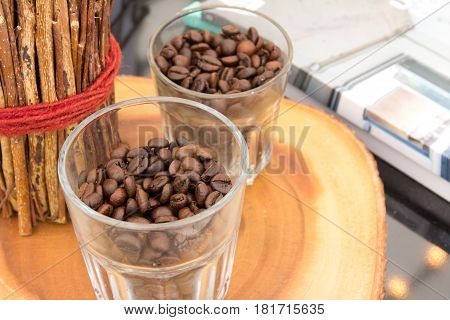 Decorate home with coffee beans on the table.