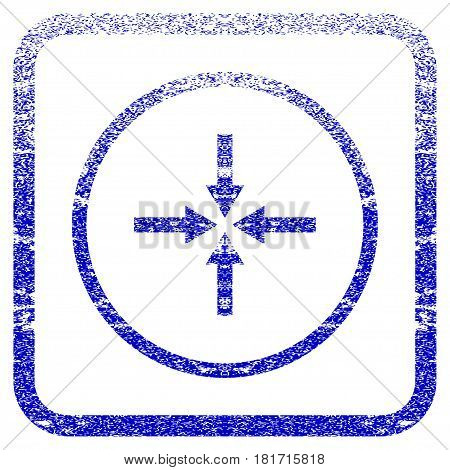 Impact Arrows textured icon for overlay watermark stamps. Blue vectorized texture. Flat vector symbol with dust design inside rounded square frame. Framed blue rubber seal stamp imitation.