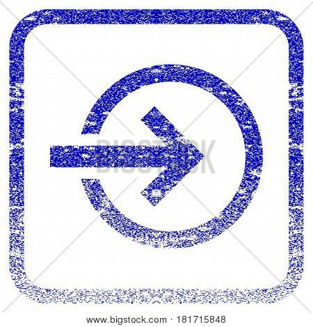 Import textured icon for overlay watermark stamps. Blue vectorized texture. Flat vector symbol with dust design inside rounded square frame. Framed blue rubber seal stamp imitation.