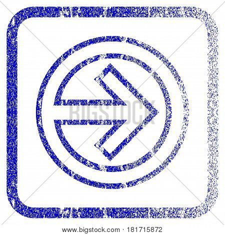 Import textured icon for overlay watermark stamps. Blue vectorized texture. Flat vector symbol with dirty design inside rounded square frame. Framed blue rubber seal stamp imitation.