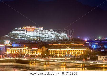 overlook of the potala palace at night lhasa tibet