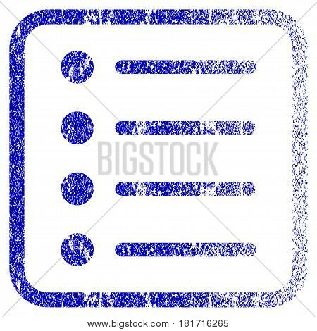 Items textured icon for overlay watermark stamps. Blue vectorized texture. Flat vector symbol with unclean design inside rounded square frame. Framed blue rubber seal stamp imitation.