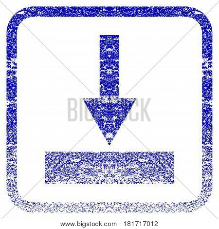 Move Bottom textured icon for overlay watermark stamps. Blue vectorized texture. Flat vector symbol with dust design inside rounded square frame. Framed blue rubber seal stamp imitation.