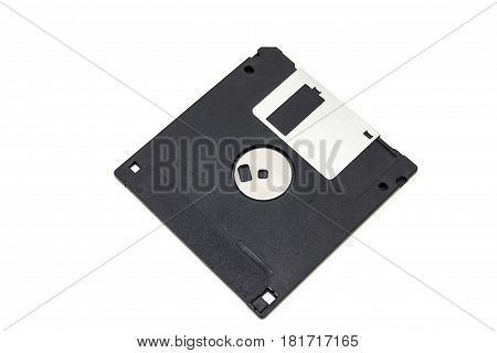 Floppy Disk magnetic computer data storage support on white background