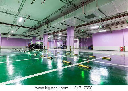 underground parking garage in a modern building