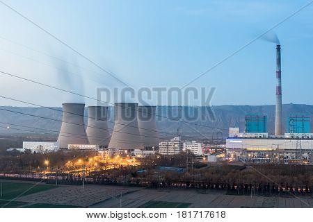 modern thermal power plant at dusk China