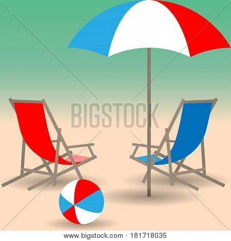 Two beach chairs umbrella and bright ball on the sandy beach. Vector illustration EPS10