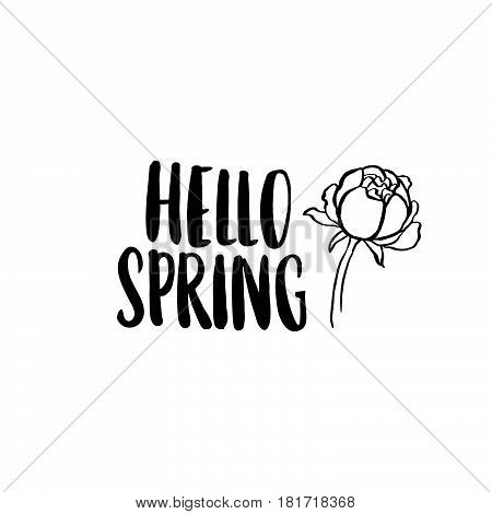 Hello Spring! The inscription handdrawing of black ink on a white background with a peony. Vector Image. It can be used for website design article phone case poster t-shirts etc.