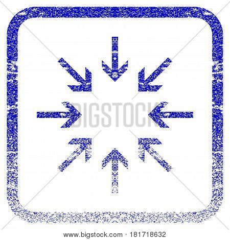 Pressure Arrows textured icon for overlay watermark stamps. Blue vectorized texture. Flat vector symbol with unclean design inside rounded square frame. Framed blue rubber seal stamp imitation.