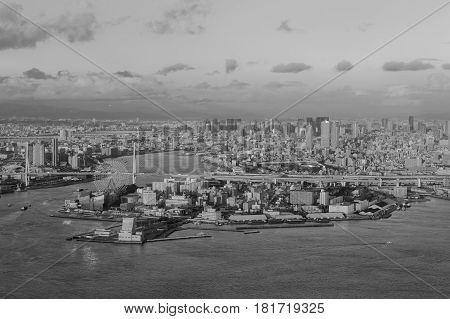 Black and White Osaka bay and residence downtown Japan