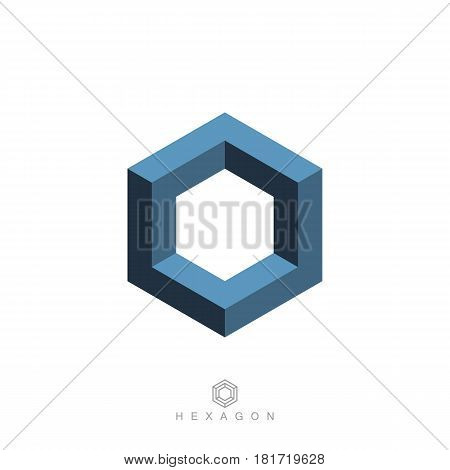 hexagon symbol or icon. hexagonal logo. impossible geometric shape. optical illusion. sacred geometry. isolated on white background. vector illustration