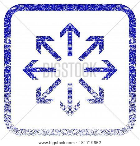 Radial Arrows textured icon for overlay watermark stamps. Blue vectorized texture. Flat vector symbol with scratched design inside rounded square frame. Framed blue rubber seal stamp imitation.