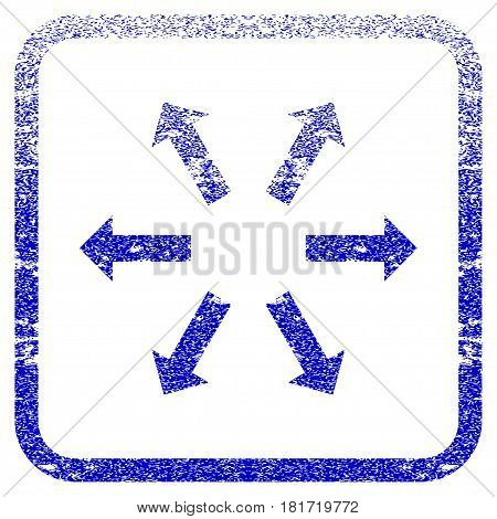 Radial Arrows textured icon for overlay watermark stamps. Blue vectorized texture. Flat vector symbol with unclean design inside rounded square frame. Framed blue rubber seal stamp imitation.