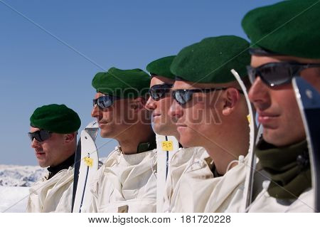 France, Alps - circa, 2011. Legionnaires-sappers of the 2nd foreign engineering regiment of the French foreign legion during the mountain training.