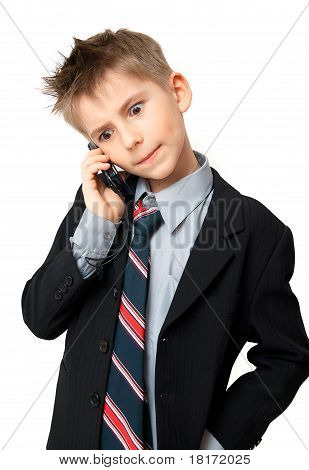 Kid Talking On A Cell Phone