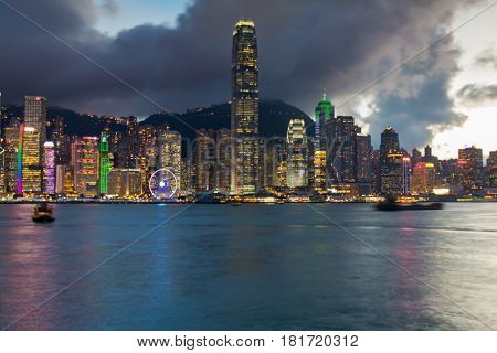 Night light Hong Kong city office building abstract background