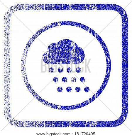 Rain Cloud textured icon for overlay watermark stamps. Blue vectorized texture. Flat vector symbol with dust design inside rounded square frame. Framed blue rubber seal stamp imitation.