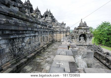The Temple Of Borobudur On Java,  Indonesia