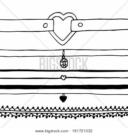 Trendy set chokers drawn in black ink on a white background.