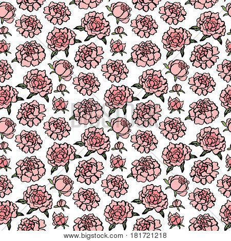 Seamless pattern with pink cute peonies on a white background