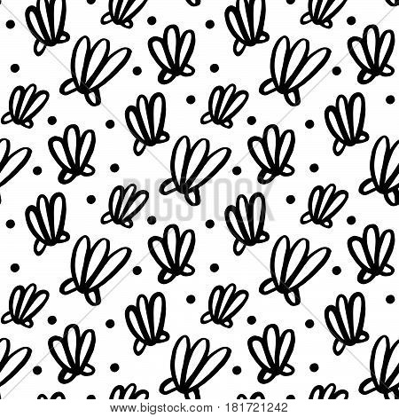 Seamless pattern with shell in marine style. Handdrawing of black ink on a white background. Vector Image.