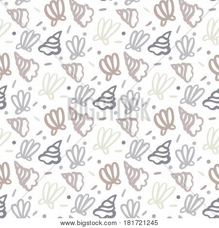 Seamless pattern with shell, in marine style, on a white background. Vector Image.