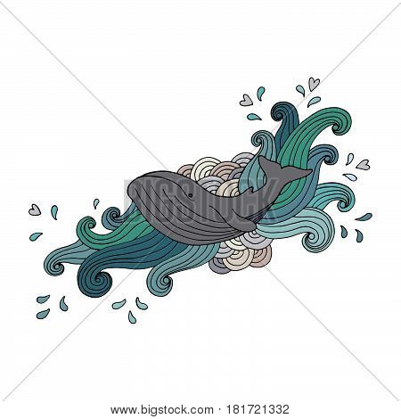Hand-drawing gray whale in abstract waves on white background. Vector illustration