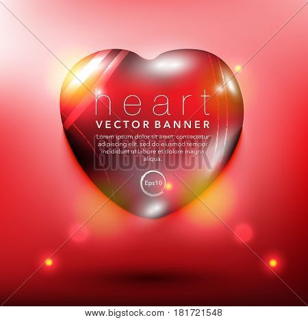 Abstract vector banner. Pebble stone in shape of heart. Red and glossy with realistic light and shadow on the red panel. Vector illustration. Eps10.