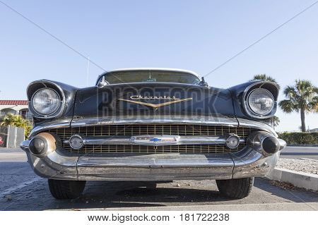 Naples Fl USA - March 18 2017: Frontal view of the 1957 Chevrolet Bel Air. Naples Florida United States