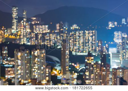 City apartment blurred bokeh light on high hill abstract background
