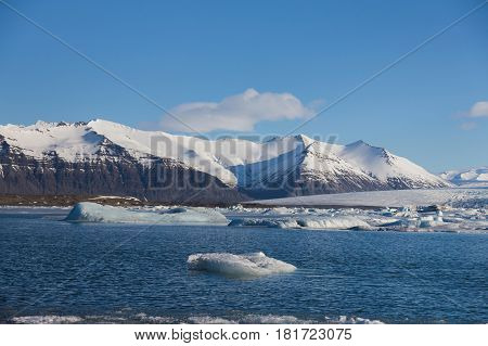 Beauty nautural winter lagoon and mountain background Iceland winter lanscape background