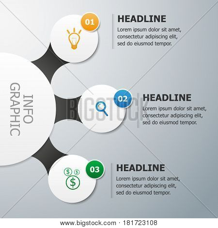 Infographics vector template. Visualization of three options/steps/ways to achieve a result