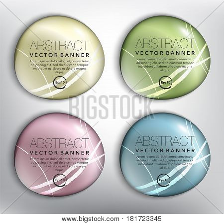 Abstract vector banner set of 4. Round pebble stones. Isolated with realistic shine and shadow on the white background. Each item contains space for own text. Vector illustration. Eps10.