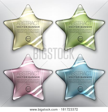 Abstract vector banner set of 4. Pebble stones in shape of stars. Colorful with realistic light and shadow on the white panel. Vector illustration. Each item contains space for own text. Eps10.