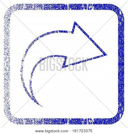 Redo textured icon for overlay watermark stamps. Blue vectorized texture. Flat vector symbol with dust design inside rounded square frame. Framed blue rubber seal stamp imitation.